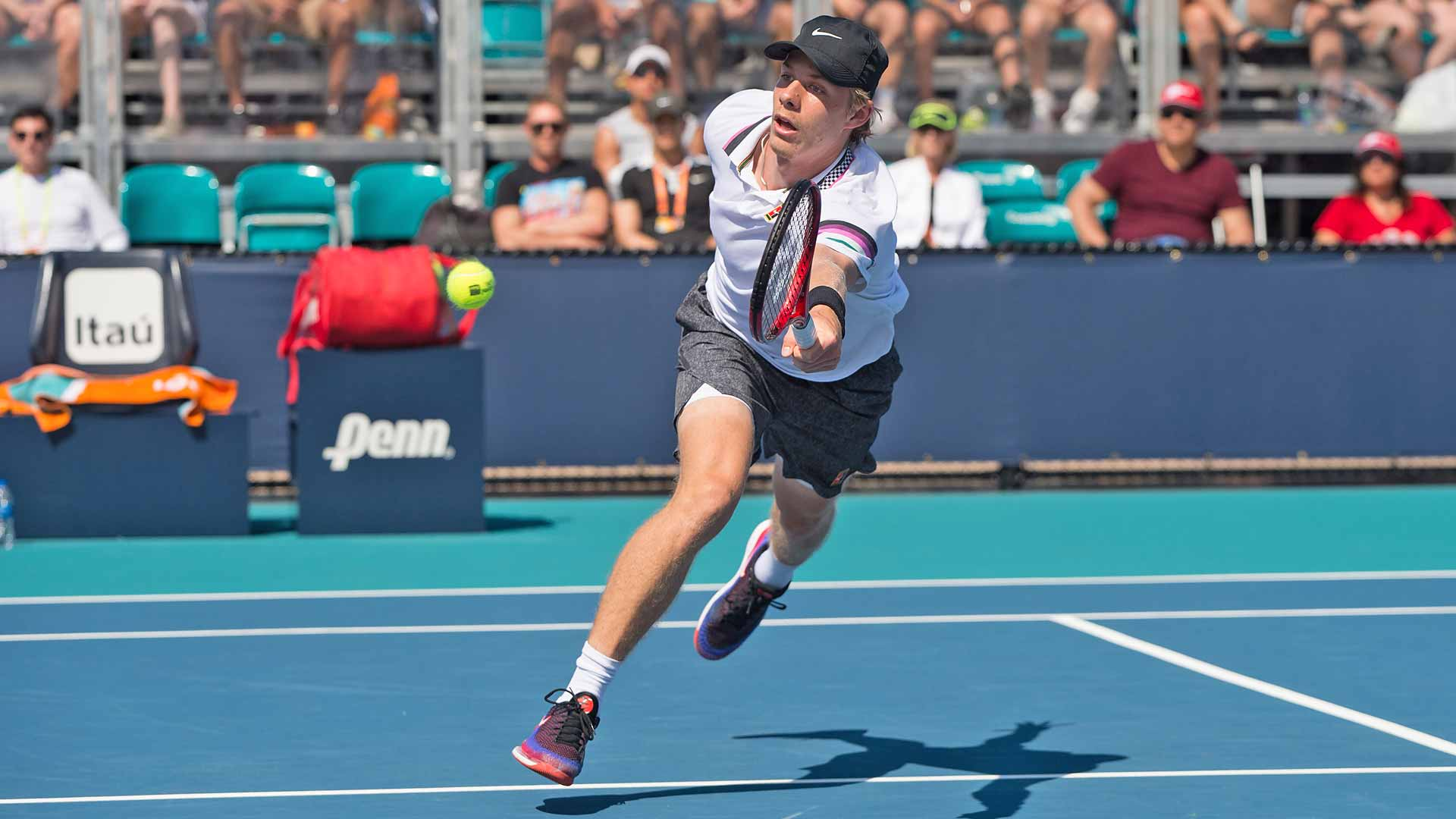 Denis Shapovalov hits a volley during his third-round match in Miami