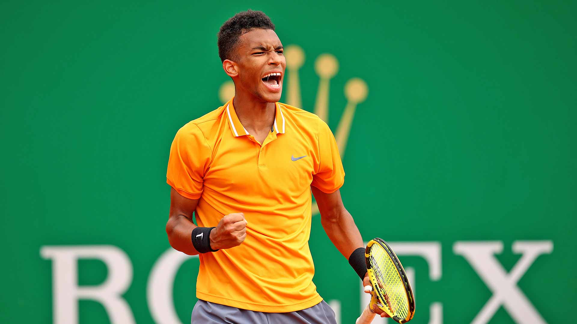 Felix Auger-Aliassime celebrates a point in Monte-Carlo
