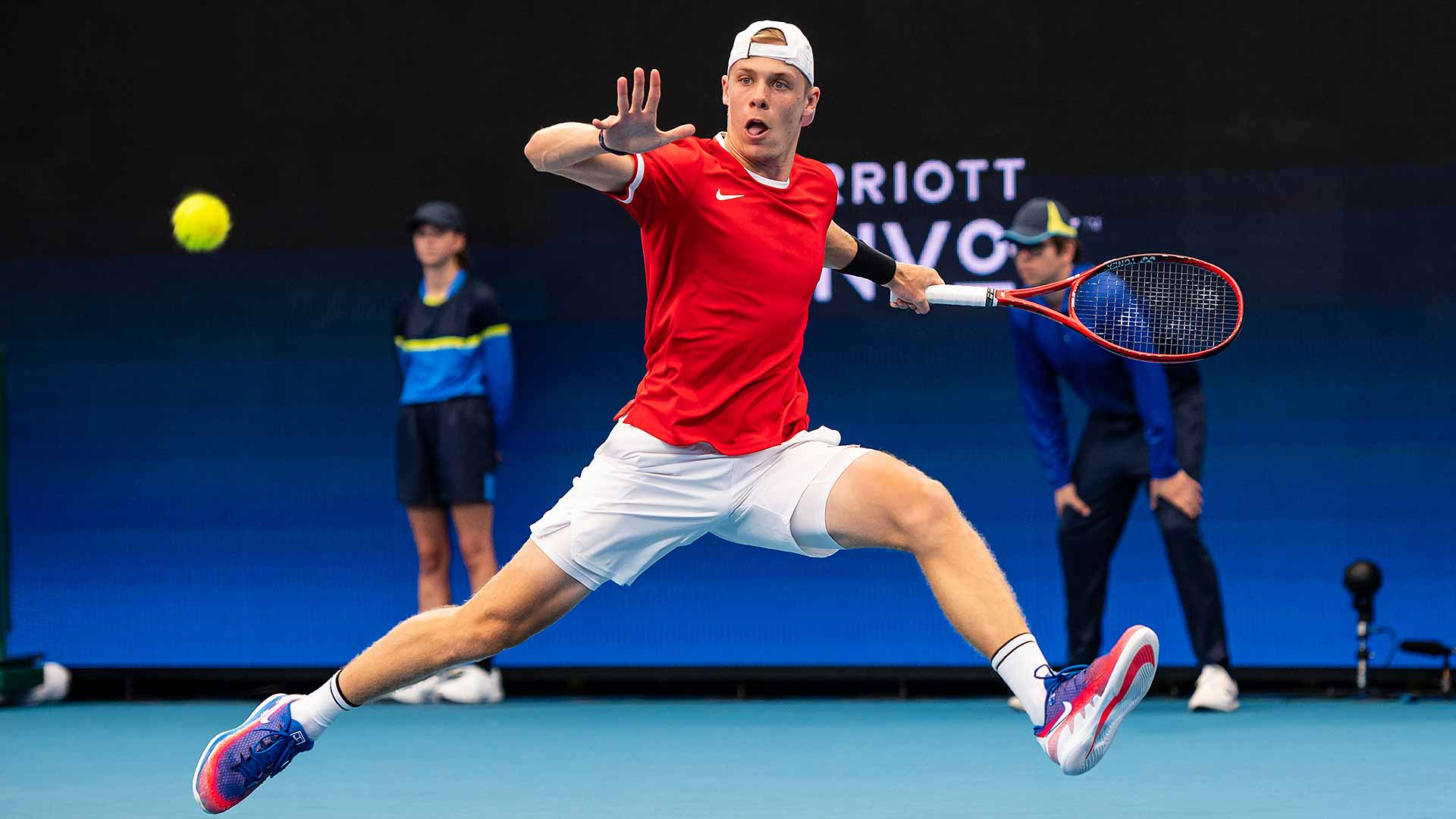 Denis Shapovalov beats Stefanos Tsitsipas at the ATP Cup on Friday in Brisbane.