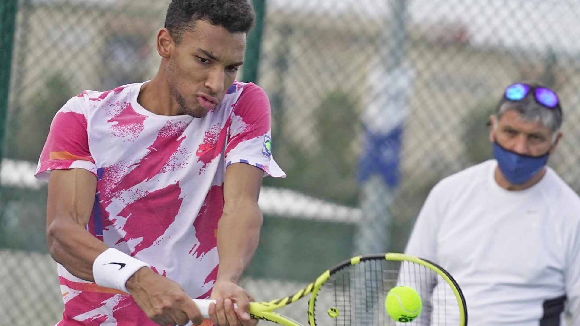 Felix Auger-Aliassime trains with Toni Nadal at the Rafa Nadal Academy by Movistar ahead of the 2021 ATP Tour season.