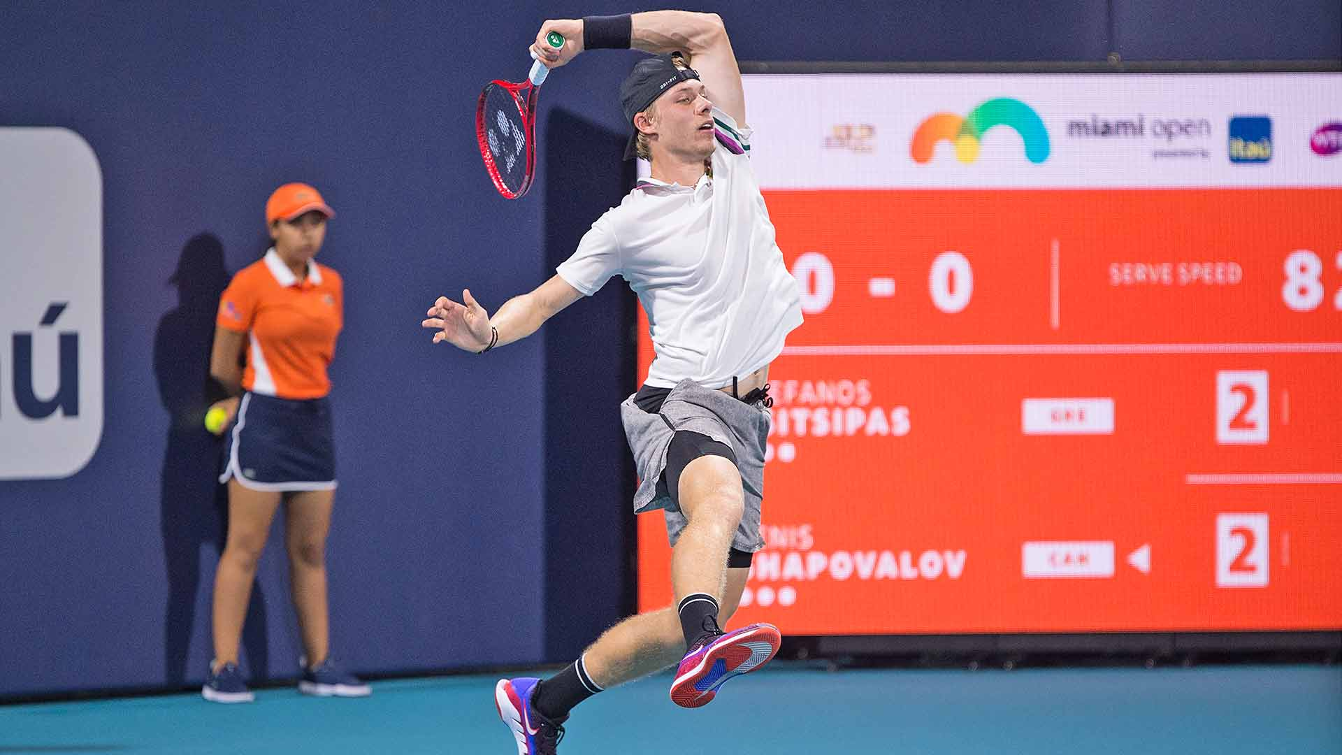 Denis Shapovalov jumps into a forehand at the 2019 Miami Open.